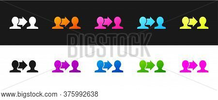 Set Project Team Base Icon Isolated On Black And White Background. Business Analysis And Planning, C