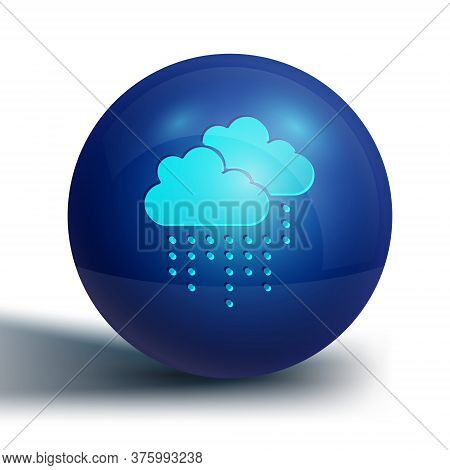 Blue Cloud With Rain Icon Isolated On White Background. Rain Cloud Precipitation With Rain Drops. Bl