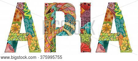 Apia City Is The Capital Of Samoa. Vector Decorative Zentangle Object For Decoration