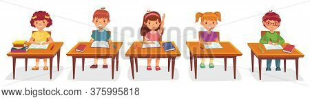 Primary School Pupils Sit At Desk. Elementary Education, Children Writing In Copybook, Raising Hand