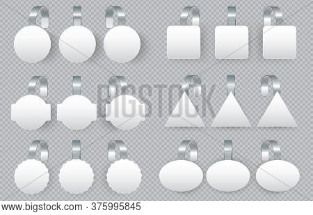 Sales Tags Wobblers On Bended Transparent Stripe. White Round, Square, Triangle And Oval Shape Or Ta