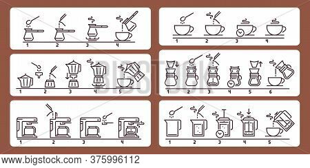 Brewing Coffee Instruction. Preparing Hot Beverage Guideline, Using Equipment For Making Drink. Pour