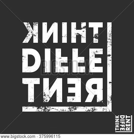 Think Different T-shirt Print. Minimal Design For T Shirts Applique, Fashion Slogan, Badge, Label Cl