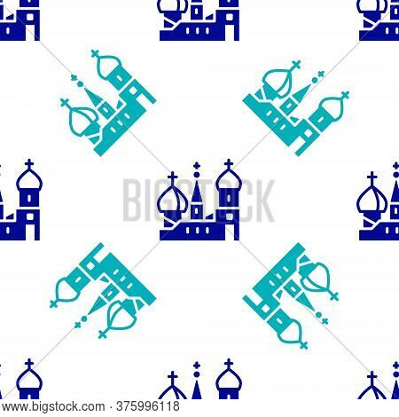 Blue Moscow Symbol - Saint Basils Cathedral, Russia Icon Isolated Seamless Pattern On White Backgrou