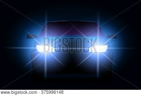 Car Lights. Night Urban Scene With Automobile Or Vehicle Silhouette With Bright Shining Headlights.