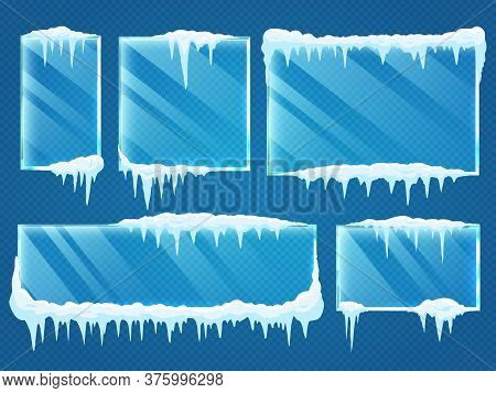 Glass Frames With Snow Caps. Frozen Winter Window Border With Ice And Frost Isolated On Transparent