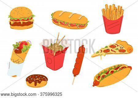 Fast Food Set Vector Illustration. Street Food Menu - Burger, Sandwich, French Fries, Doner Kebab, N