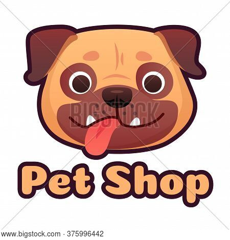 Pet Shop Logo Design With Pug Face. Dog Store Selling Goods And Accessories For Domestic Animals. Cu