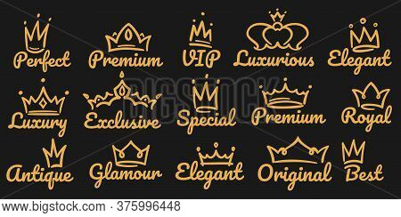 Premium Crown Logo. Sketch Golden Luxurious And Exclusive, Special And Glamour Diadems. Crowns With