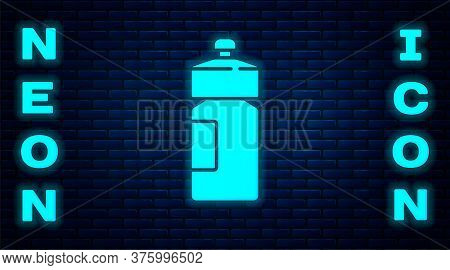 Glowing Neon Fitness Shaker Icon Isolated On Brick Wall Background. Sports Shaker Bottle With Lid Fo