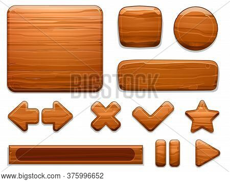 Wooden Ui. Wood Textured Plate Frame, Cartoon Banner Panel And Game Buttons. Arrow, Star And Play St