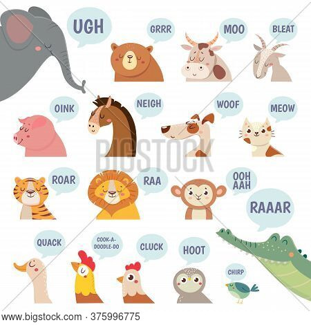 Animals Sounds. Cute Animal Making Sounds Cat And Dog, Sheep And Cow, Pig And Hen, Horse And Lion, B