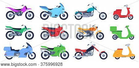 Flat Motorbike. Biker Motorcycles, City Delivery Scooters And Road Bikes. Retro Choppers, Sport Moto