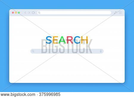 Internet Search Window. Browser Search Engine Page, Blank Website Tab, Searching Screen Panel Homepa