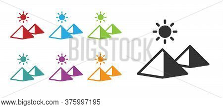 Black Egypt Pyramids Icon Isolated On White Background. Symbol Of Ancient Egypt. Set Icons Colorful.