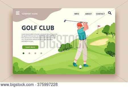 Golf Club Web Site. Sports Club With Green Play Field, Holes With Flagsticks, Sand Traps, Golf Cart,