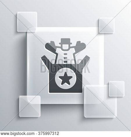 Grey Jack In The Box Toy Icon Isolated On Grey Background. Jester Out Of The Box. Square Glass Panel