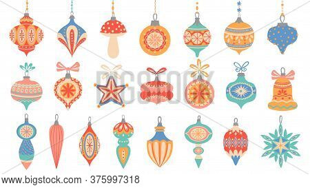 Christmas Toys. Cute Xmas Decorative Elements, Holiday Winter Toys With Lace Ornament And Garlands,