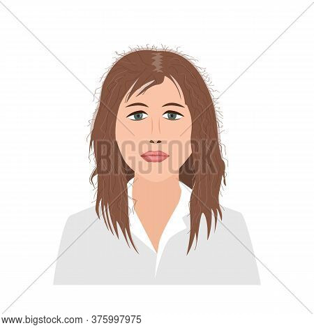 Portrait Of Upset Young Woman Woman With Damaged And Fluffy Hair. Vector Illustration