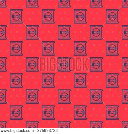 Blue Line Canned Food Icon Isolated Seamless Pattern On Red Background. Food For Animals. Pet Food C
