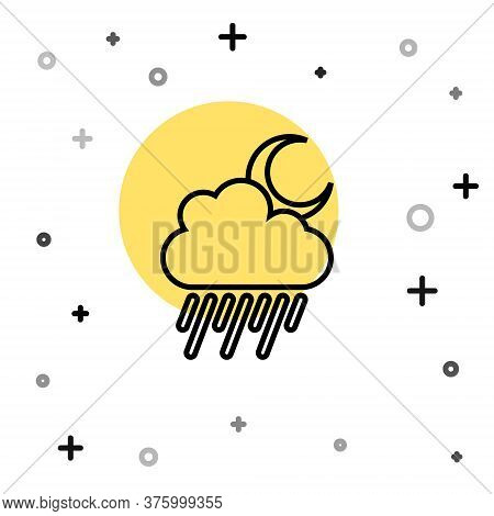 Black Line Cloud With Rain And Moon Icon Isolated On White Background. Rain Cloud Precipitation With