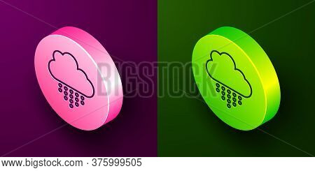 Isometric Line Cloud With Rain Icon Isolated On Purple And Green Background. Rain Cloud Precipitatio