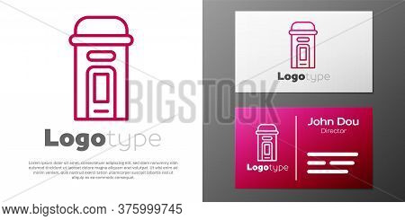 Logotype Line London Phone Booth Icon Isolated On White Background. Classic English Booth Phone In L