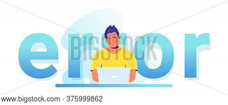 An Error Notification Banner For Website. Gradient Vector Illustration Of Upset Man Sitting At Work