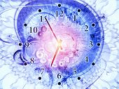 Arrangement of gears clock elements dials and dynamic swirly lines on the subject of scheduling temporal and time related processes deadlines progress past present and future poster
