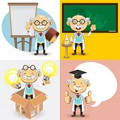 An Illustration Of Genius Bald Professor Scientist And Teacher Giving Presentation Explanation. Useful As Icon, Illustration And Background For Educational Theme. poster