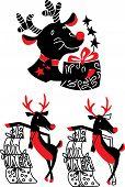 Xmas celebration set of reindeer Rudolf vector illustration poster