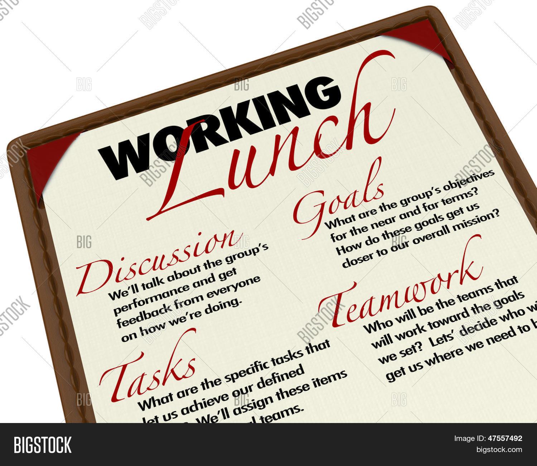 working lunch agenda image & photo (free trial) | bigstock