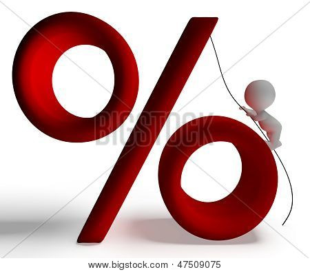 Percent Sign With 3D Man Climbing Shows Percentage