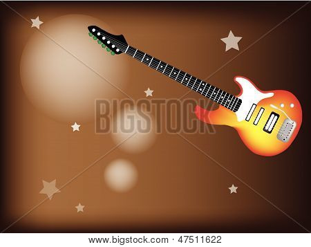 A Red Electric Guitar On Star Background