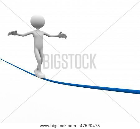 3d people - men person walking on the wire. Aerobatics poster