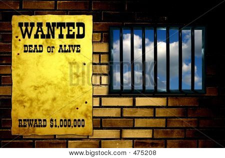 Latticed Prison Window, Clear Sky Beyond. Vintage Wanted Poster On The Wall