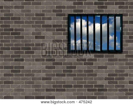 Latticed Prison Window, Clear Sky Beyond