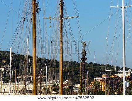 Yacht In Port Of Barcelona