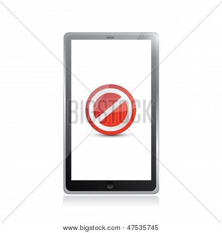 Tablet Screen With The Message Forbidden.