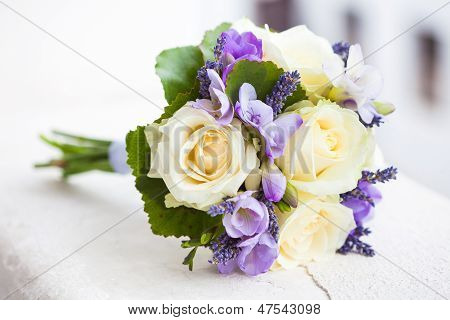 Wedding Bouquet With Yellow Roses