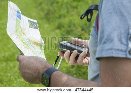 Man With Gps And Plan