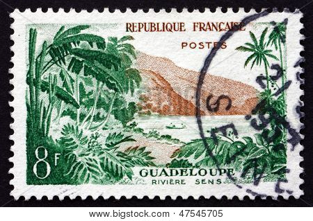 Postage Stamp France 1957 View Of Sens River, Guadeloupe