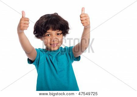 Cute Mixed Race Boy with Thumbs Up