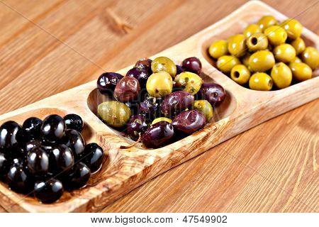 Variety Of Green, Black And Mixed Marinated Olives