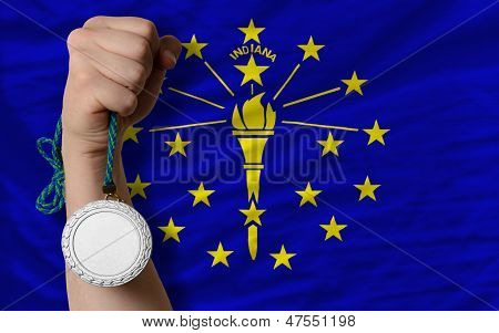 Silver Medal For Sport And  Flag Of American State Of Indiana