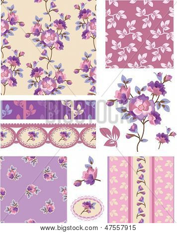 Shabby Chic Purple Floral Vector Seamless Patterns. Use as fills, digital paper, or print off onto fabric to create unique items.