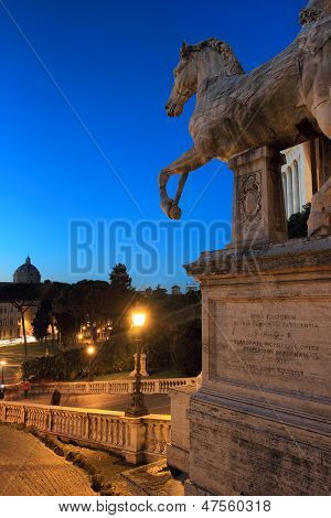 Night View Of Rome From Capitol Hill