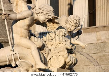 Pallas-Athena-Brunnen Fountain of the Austrian Parliament in Vienna Austria poster