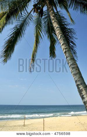 Volleyball Net On A Deserted Beach