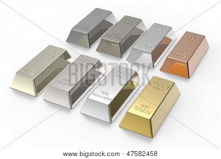 Zbiór cennych metali wlewki na białym tle. Zdjęcie 3D renderowania.
